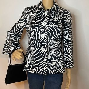Black white zebra mod fit blazer w/white buttons!